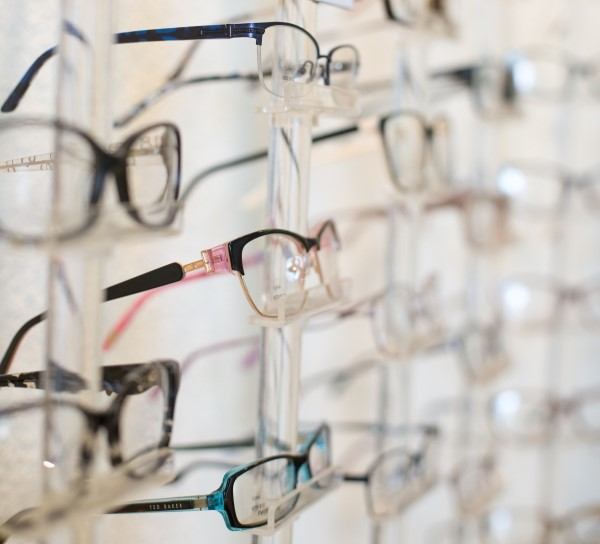 Closeup of glasses frames on a wall